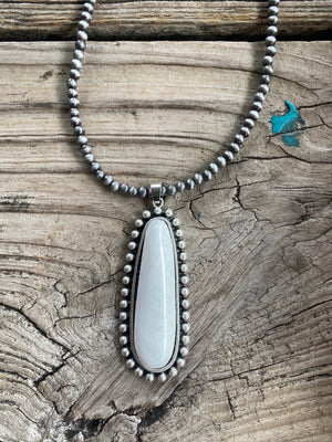 """Ole Jeronimo"" Navajo Pearl Jumbo Turquoise &/or White Buffalo Pendant Necklace"