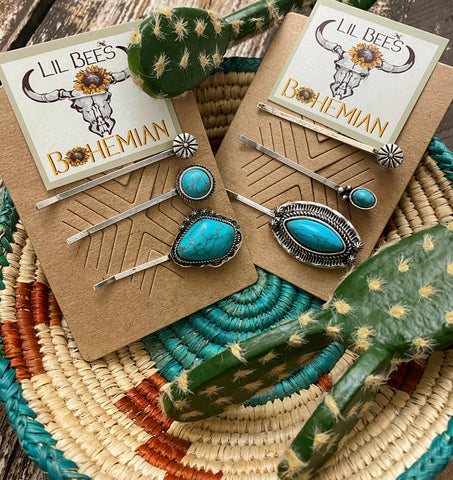 """Ole Pin Up Queen"" Turquoise Hair Pin Set &/or Cowgirl Hat Accessories"