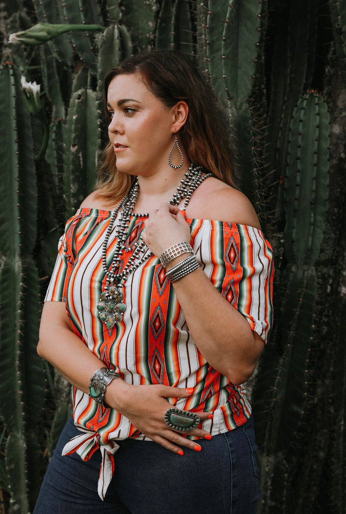 """Ole Carmen Sandiego"" Serape Print Off The Shoulder Tie Front Tunic Top"