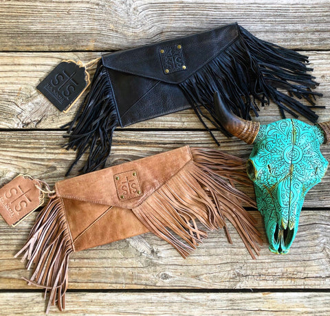 sTs Ranchwear Buttery Soft Pebbled Leather Fringe Envelope Clutches