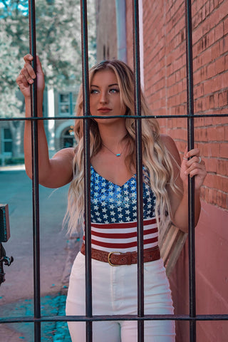 """Ole Star Spangled"" Striped Sequin American Flag Bodysuit"