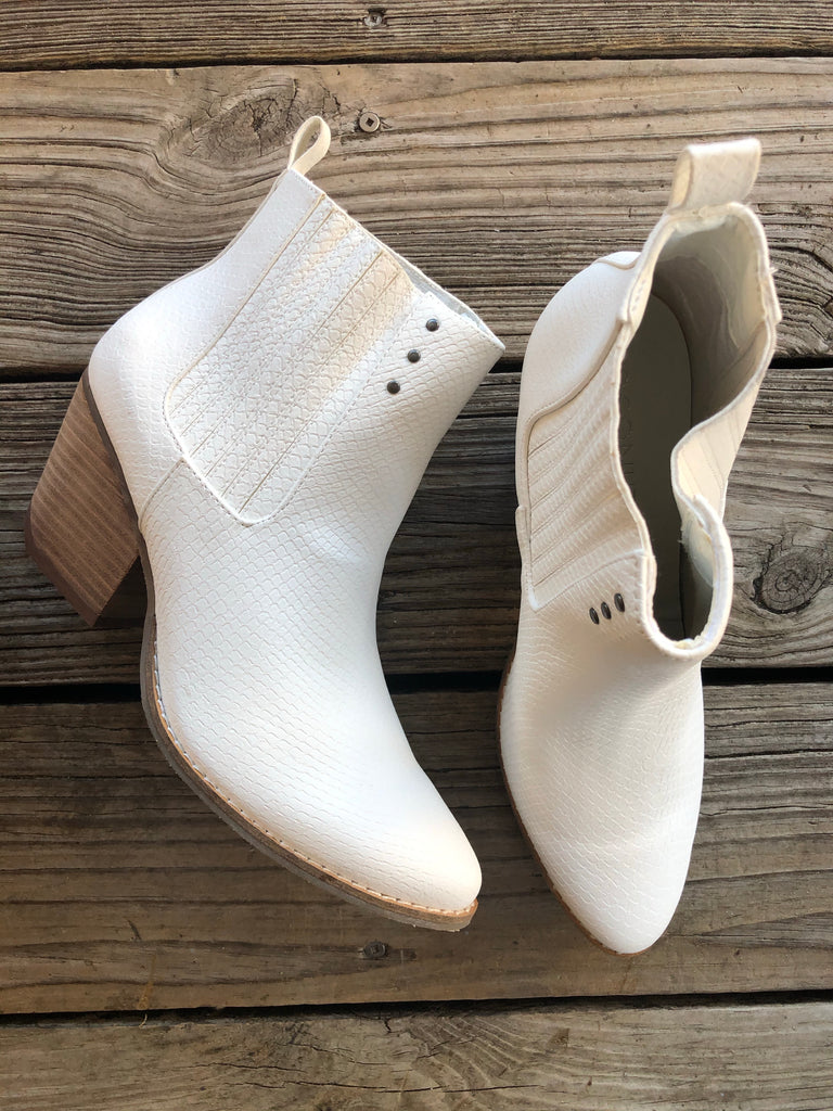 "Coconuts By Matisse White Snakeskin ""SLICK"" Booties"