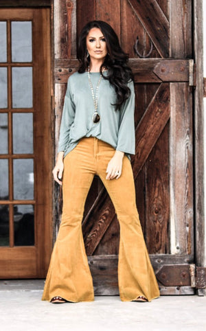 """Ole Gold Digger"" Spicy Golden Mustard Corduroy Bell Bottom Pants"