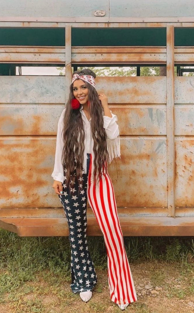 """Ole R.O.C.K. In The USA"" American Flag Bell Bottom Pants"