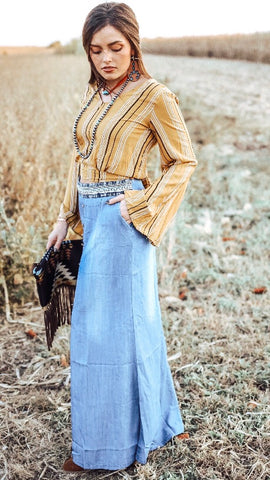 """Ole Key Largo Blues"" Light Denim Wash Maxi Skirt"