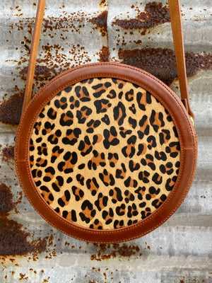 """Ole Eastbound & Round"" Hair On Hide Leopard Print Canteen Purse"