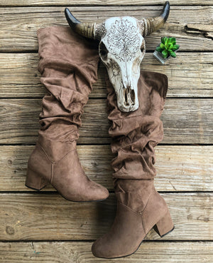 """Ole Wembley City"" Taupe Suede Slouchy Knee High Boots ~ FINAL SALE"