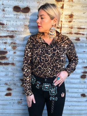 """Ole Spotted Cowgirl"" Leopard Print Pearl Snap Button Up Shirt"