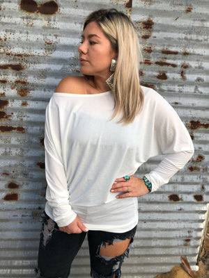 """Ole Lady Madonna"" Dolman Sleeve Top &/or Mini Dress ~ Ivory/White"