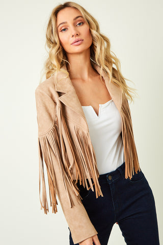 """Ole Fringe Benefits"" Light Sandy Beige Suede Fringe Jacket ~ PREORDER 9/30"