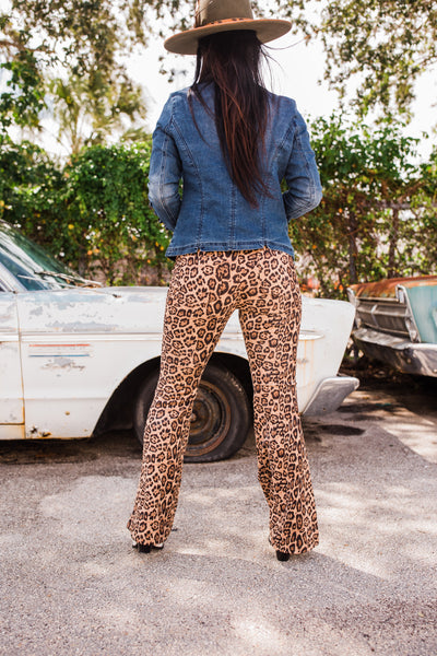 """Ole Paw Purr Ratzi"" Leopard Print Suede Bell Bottom Pants"