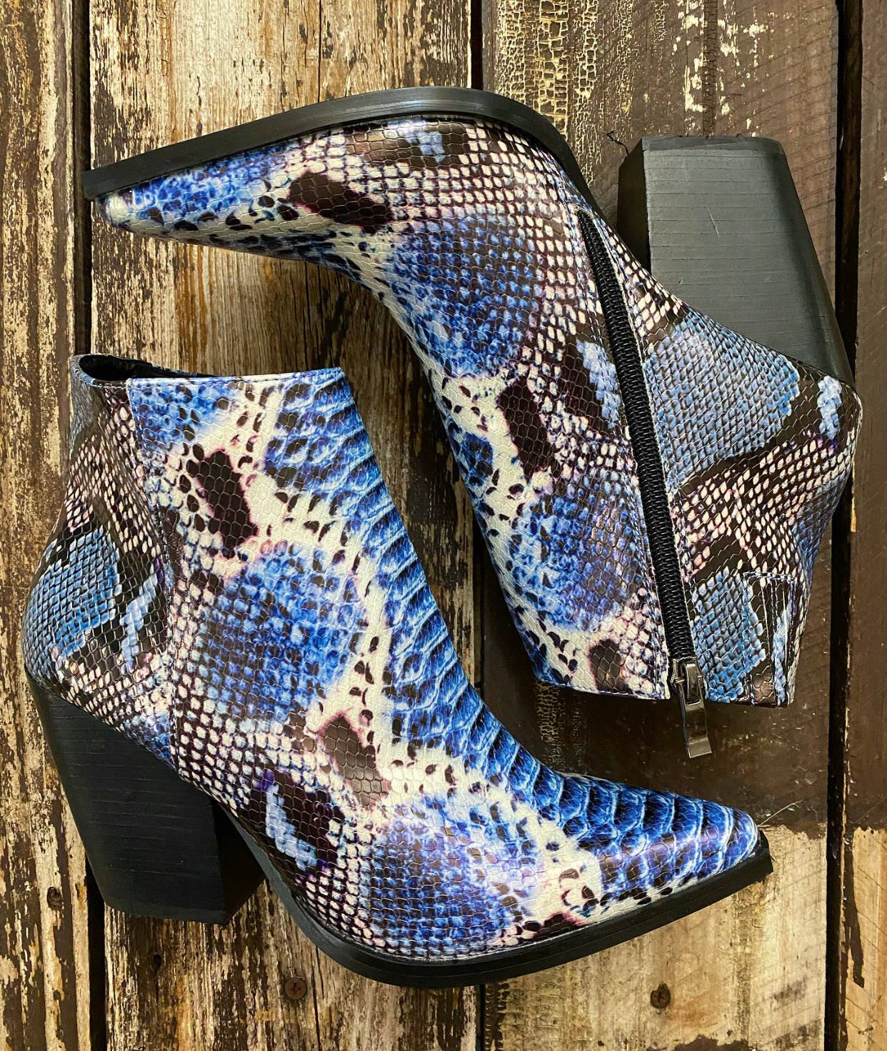 """Ole Blue Racer"" Electric Blue Textured Snakeskin Print Booties"