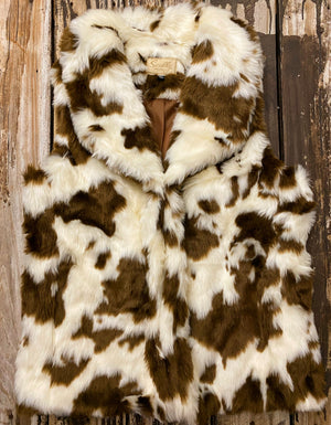 """Ole Be Mine For Heifer"" Brown & Cream Cow Puncher Fur Vest"