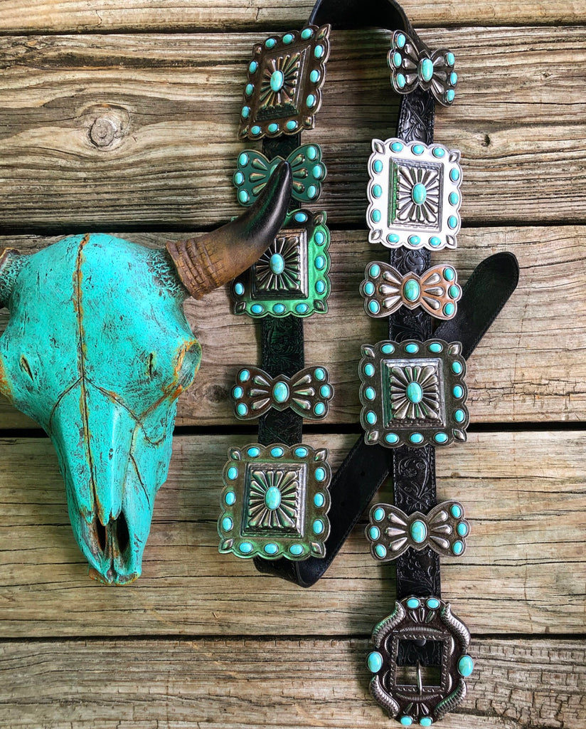 """Ole Toledo"" Jumbo Silver & Turquoise Stone Concho Tooled Black Leather Belt"