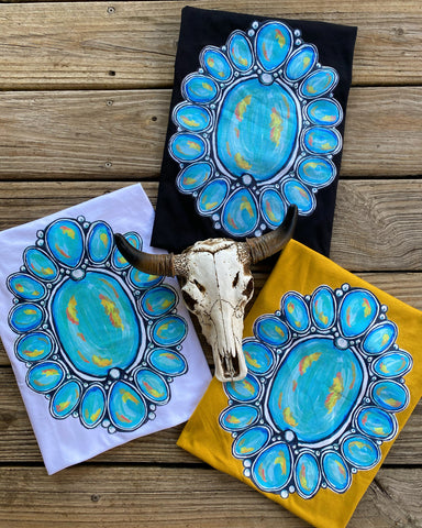 """Ole Nacogdoches"" Turquoise Squash Blossom Cluster Graphic Tee"