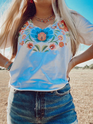 """Ole Mexi Madam"" Mexican Style Fiesta Floral Pattern Graphic Tee"