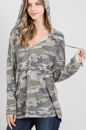"""Ole Incognito"" Camo Print Long Sleeve Pullover Hoodie"