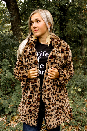 """Ole Lady Luck"" Fuzzy Fur Leopard Print Jacket"