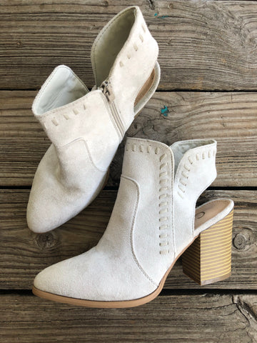 """Ole Stone Fox"" Light Stone Grey Suede Peep Heel Booties"