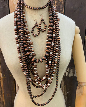 """Ole Jackson City"" Copper Pearl & Ivory Stone 8 Strand Layering Necklace Set"