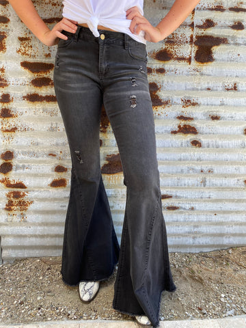 """Ole Highway Queen"" Distressed BLACK Denim Bell Bottom Jeans ~ 35 Inseam"