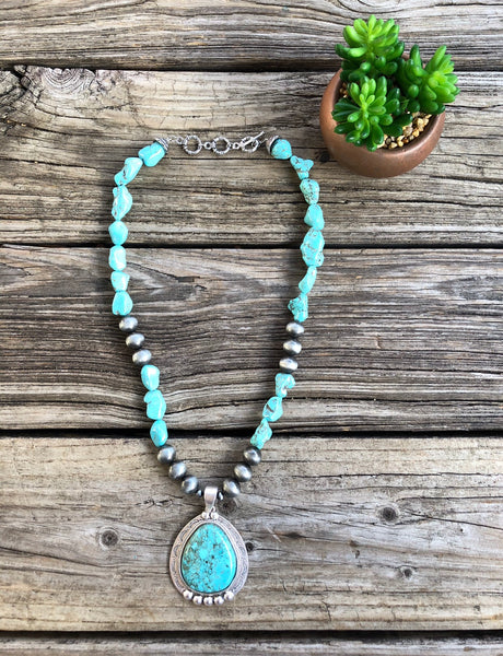 """Ole Resado"" Turquoise Nugget & Jumbo Navajo Pearl Pendant Necklace"