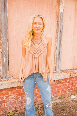 """Ole Bimini Bae"" Crochet Front Halter Style Tank Top ~ Taupe"