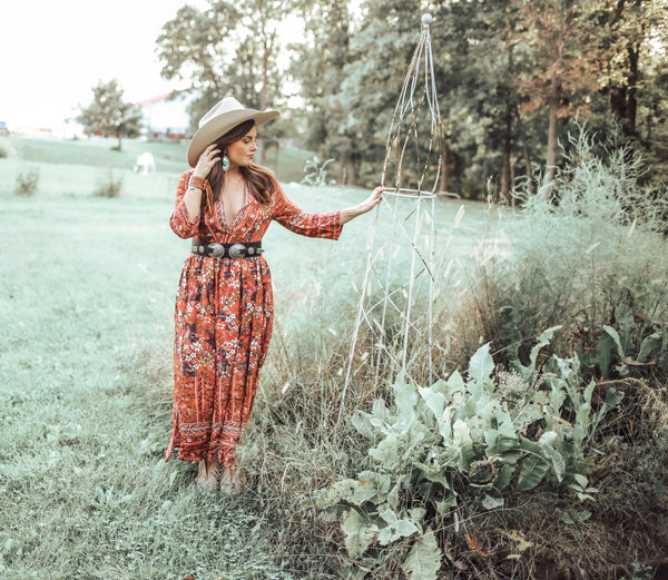 """Ole Warrenton Road"" Red Floral Prairie Style Maxi Dress"