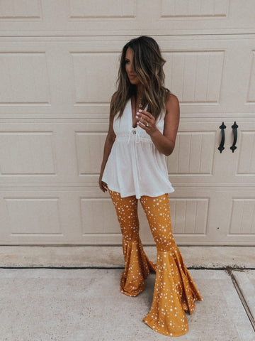 """Ole Starry Starry Nights"" Mustard Yellow Star Print Ruffle Bell Bottom Pants"