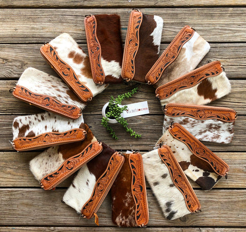 """Ole Saddle Up Suzie"" Tooled Leather Trim Cow Hide Clutch Purse"