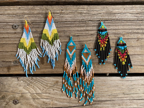 """Ole Family Ear Loom"" Beaded Chandelier Earrings"