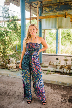 """Ole Mystic Waters Patchwork Floral Jumpsuit"