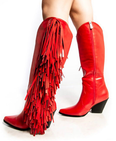 """Ole Sweet Cherry Pie"" Bright Red Side Fringe Knee High Cowgirl Boots"