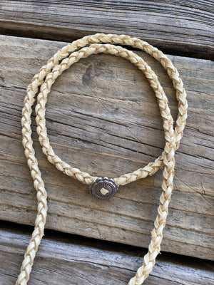 """Ole Lasso"" Braided Buckskin Leather Wrap Concho Tassel Necklaces"