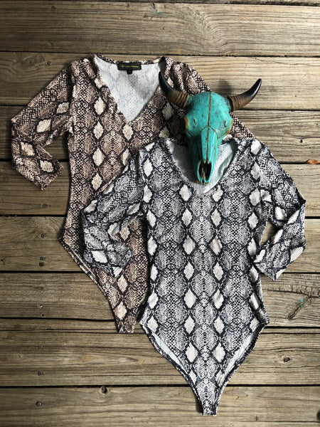 """Ole Slitherin On Thru"" Ribbed Snakeskin Print Long Sleeve Bodysuit"