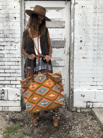 """The Traveler"" Woven Aztec Design Oversized Saddleblanket Weekender Tote Bag"