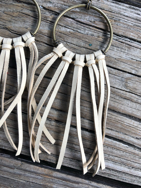 """Ole Socorro"" Buckskin Leather Fringe Earrings"