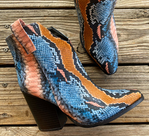 """Ole Palm Springs"" Desert Sunset Snakeskin Booties"