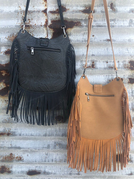 """Ole Laredo"" Turquoise Stone Fringe Cross Body Bag"