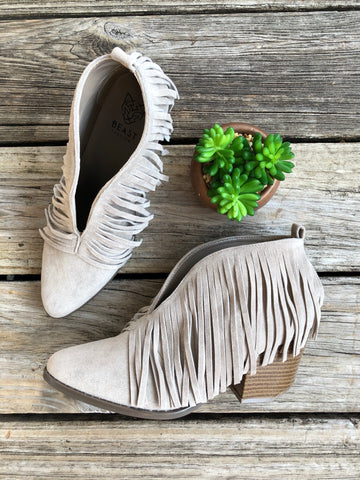 """Ole Fifty Shades"" Grey Suede Fringe V Cut Booties"