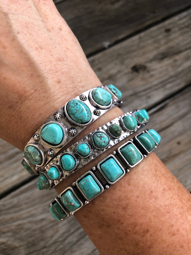 """Just Be Free"" Turquoise & Silver Cuff Bracelet Set"