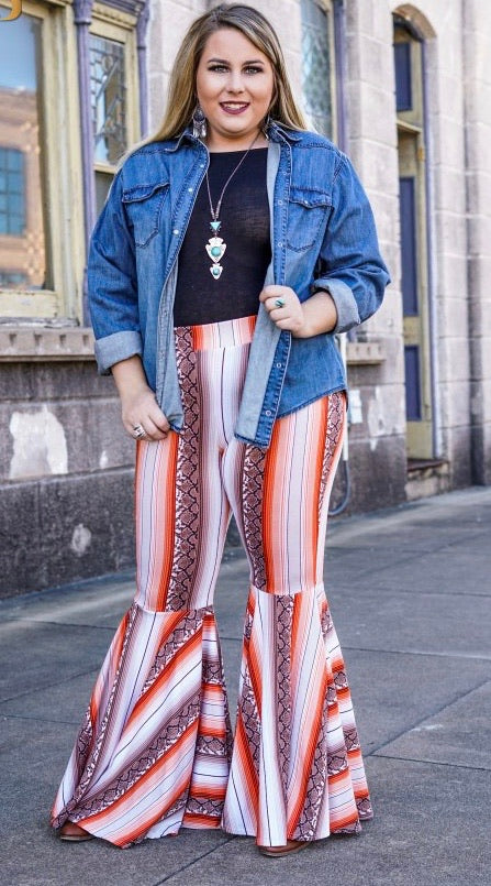 """Ole Juke Box Hero"" Snakeskin & Sunset Serape Stripe Ruffle Bell Bottom Pants"