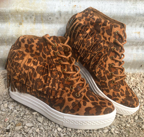 Not Rated LEOPARD Suede Fringe Hi Top Hidden Wedge Tennis Shoes