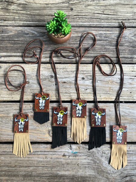Lil Bee's Bohemian Hand Painted Studded Leather Fringe Necklaces