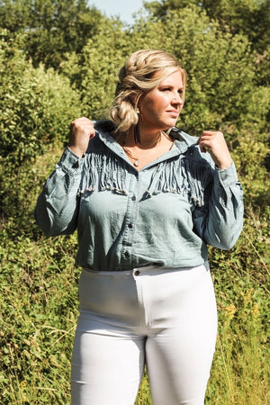 """Ole Blue Jean Baby Queen"" Light Wash Denim Fringe Front Button Up Shirt"