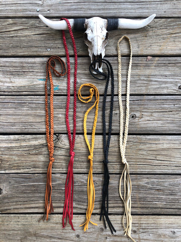 """Ole Landry"" Braided Buckskin Leather Tassel Lasso Necklaces"