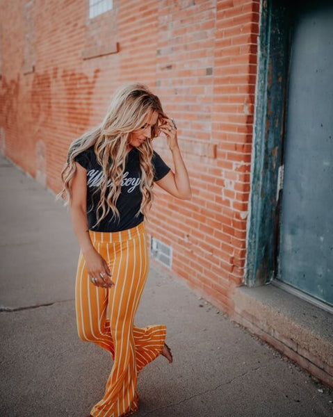 """Ole Mellow Yellow"" Mustard & White Pinstripe Bell Bottoms"
