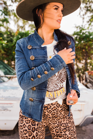 """Ole Sergeant Pepper"" Military Button Jean Jacket"