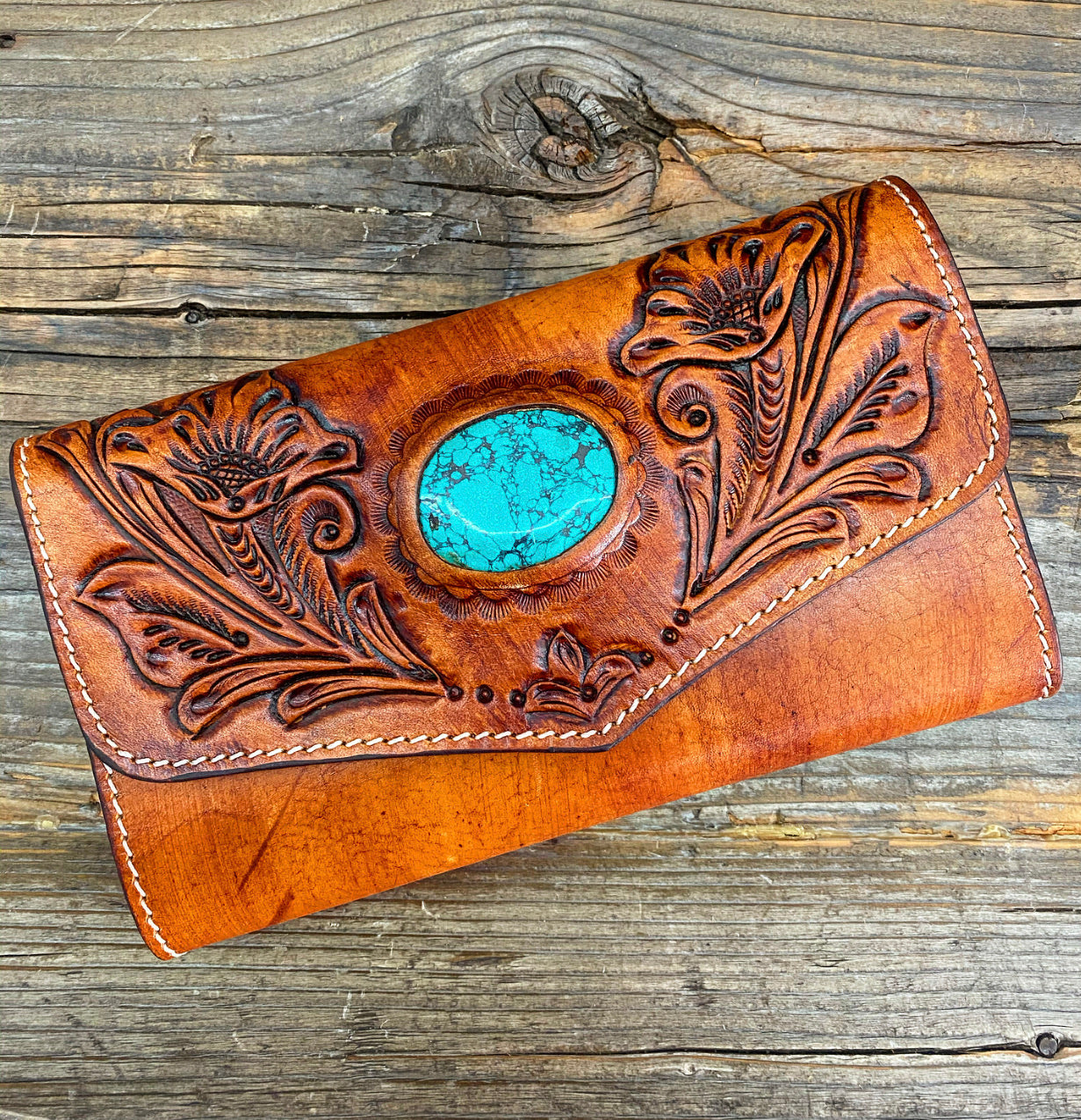 """Ole Daffodil"" Tooled Leather Turquoise Stone Wallet/Clutch"