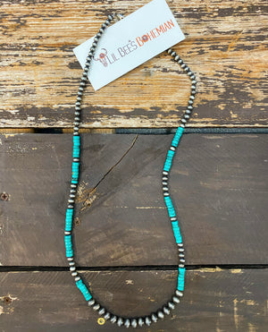 """Ole Wanne"" Navajo Pearl &  Heishi Turquoise Single Strand Layering Necklace"